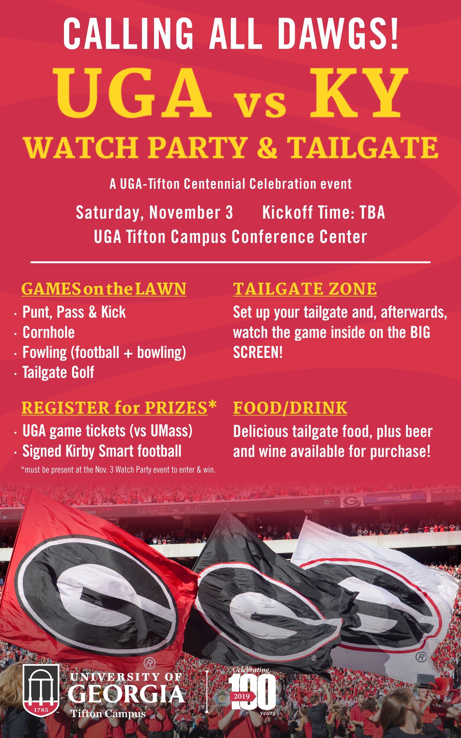 UGA vs KY Watch Party and Tailgate