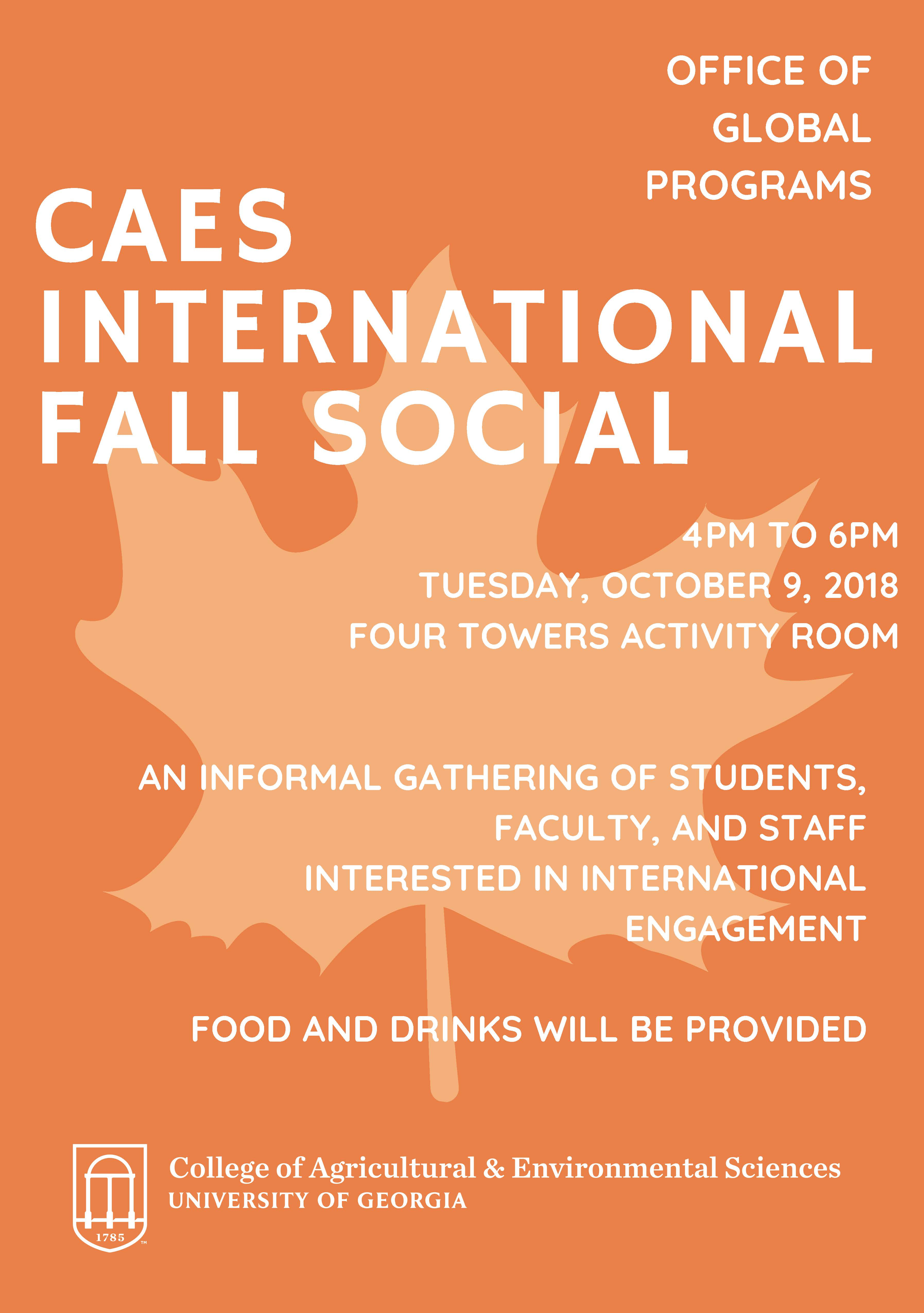 Join us for the CAES International Fall Social hosted by the Office of Global Programs
