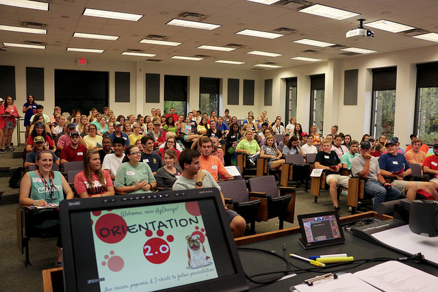 Students gather at CAES Orientation 2.0 to kick off the fall semester.