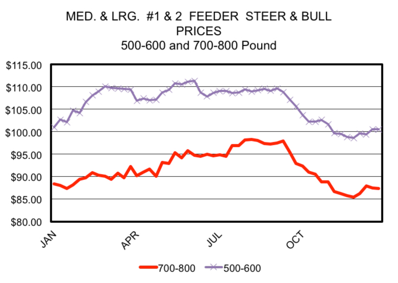 Figure 1. Seasonal prices of feeder steers and bulls in Georgia auction markets. 2007-2011. Data source: USDA-AMS, Weekly Auction Report, TV_LS145 (various weeks).