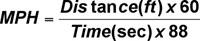 Miles per hour equation.
