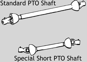 A special short PTO shaft must be used