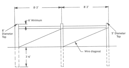 Illustration showing double span        H-brace assembly. Length between posts is 8 ft, 3 in. Post depth is 3 ft, 6 in. The end post has an 8 in. diameter, the other posts have 5 in. diameters