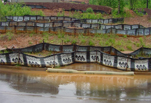 Example of silt fences protecting water source.