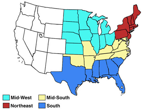 map of four U.S. regions