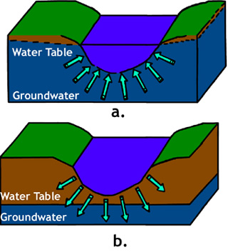 Figure 4. Interaction   between surface water (stream) and ground water (aquifer). a) Gaining stream;   b) Losing stream. <em>Modified from Georgia Adopt-A-Stream Manual.</em>