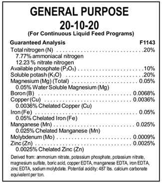 Fertilizer label