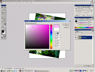 screen shot showing how to change the background color