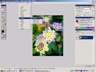 screen shot showing how to get to the sharpen filter