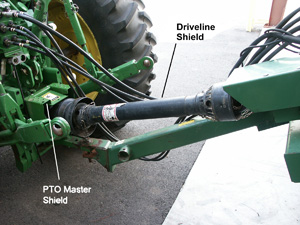 PTO driveline safety cover: All rotating parts are covered and the cover does not rotate.