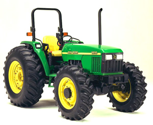 ROPS equipped tractor.