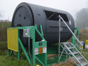 Photo of an in-vessel rotary composter