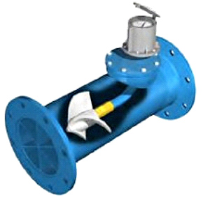 illustration of a water meter on a pipe with a cut out showing the propeller inside
