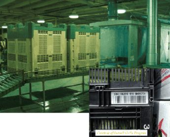 Photo showing plastic containers at barcoding facility