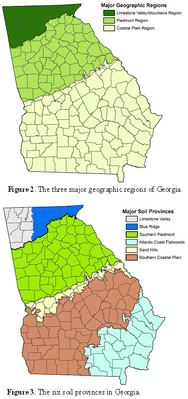 Georgia's geographic regions and soil provinces maps