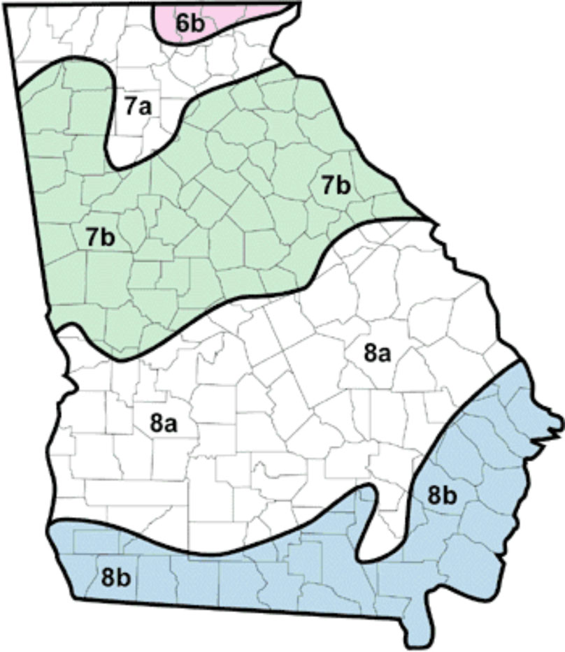 USDA Hardiness Zones in Georgia
