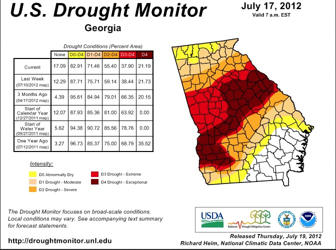 U.S. Drought Monitor map of Georgia as of July 2012