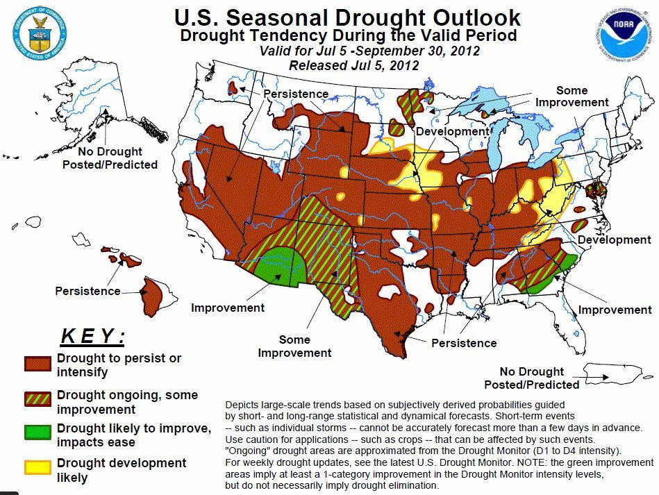 NOAA U.S. seasonal dtrought outlook map