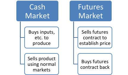 Figure 1. Cash market and futures market flow chart for buying and selling.