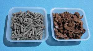 Figure 4. Examples of pelletized and processed and colored recycled newspaper that can be used as a mulch.