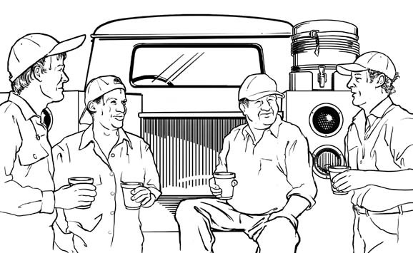 line drawing of four workers standing around a truck chatting