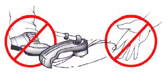 Keep hands and feet away from motorized blades or strings.