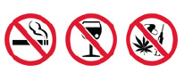 Do not smoke while on the job and never work under the influence of alcohol or drugs.
