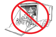 If using a trailer, always haul riding mowers with the exhaust system facing out, to avoid smoke inside the trailer.