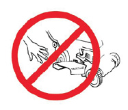 Keep your hands and feet away from the blades and the discharge chute of mowers.