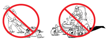 Do not pull a push mower backward or operate riding mowers in reverse.