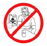 Never smoke, drink or eat while working with pesticides. After finishing work with pesticides, wash hands thoroughly before going to the bathroom, eating or drinking.