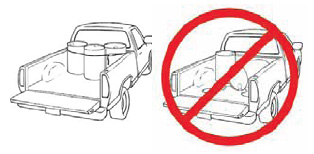 Put all pesticides in the rear section of the truck, never in the cabin. Make sure  containers are in good condition before loading and well secured in the vehicle.