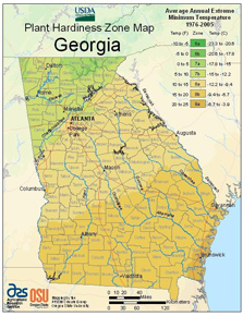 Figure 2. Georgia Plant Hardiness Zone Map. Zones are based on average minimum winter temperatures. Many other factors, such as summer heat, summer night temperatures, humidity and rainfall, affect plant performance and adaptability.