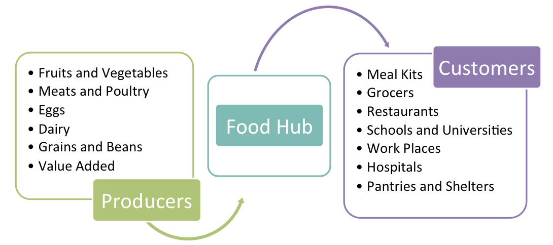Chart showing the breakdown of a food hub