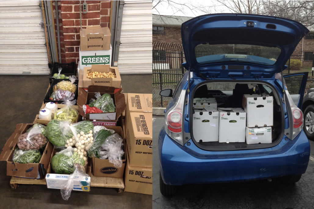 There are two halves of the image. The first one shows produce on a table, and the second shows the open trunk of an SUV that is filled with boxes