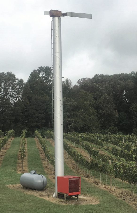 Wind machine in a Chardonnay vineyard