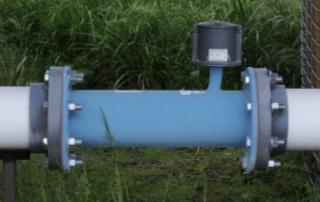 An inline propeller style water meter