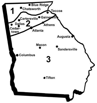 Georgia horticultural area map