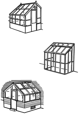 Examples of attached greenhouses.