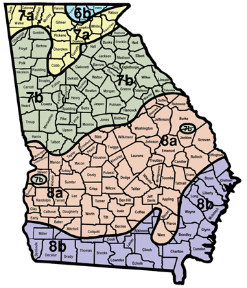 Figure 2. USDA plant hardiness zones for Georgia.