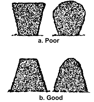 drawing of poorly pruned hedges (top) compared to well pruned hedges (bottom)
