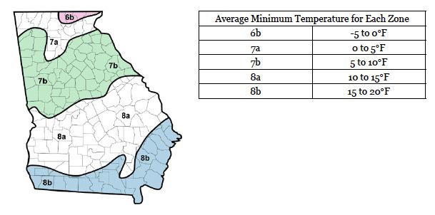 Figure 5. Cold Hardiness Zone Map of Georgia
