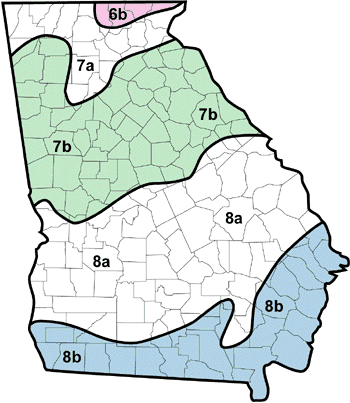 Map of plant hardiness zones in Georgia
