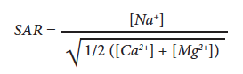 Equation to calculate Sodium Adsorption Ratio. SAR = [Na+] divided by the square root of 1/2([Ca2+] + [Mg2+])