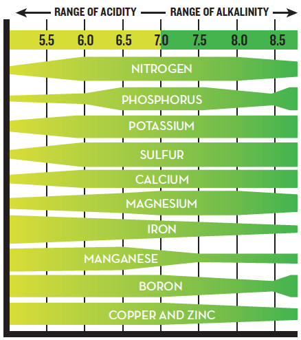 chart showing how well various nutrients can be absorbed depending on the soil's acidity/alkalinity.