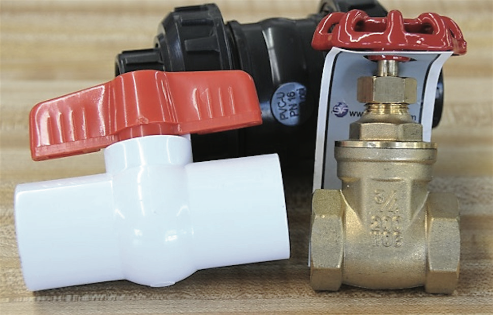 Three different types of valves