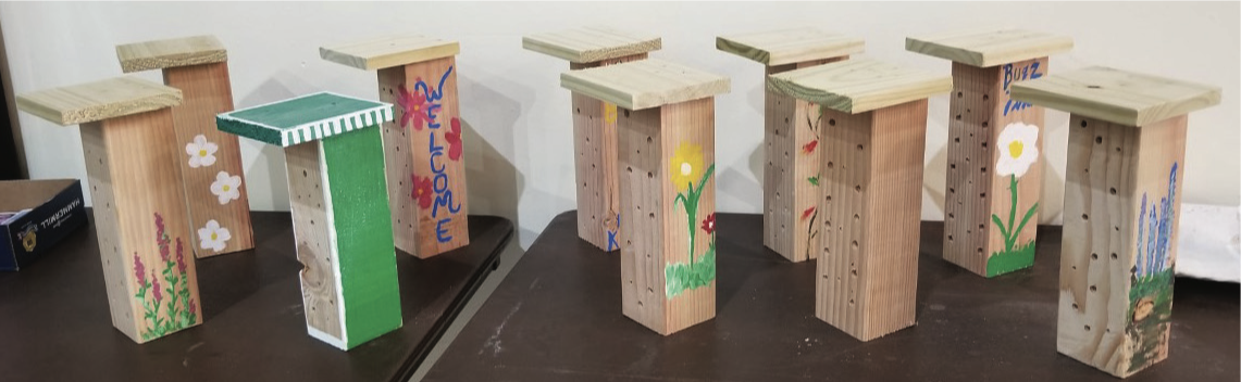 "Simple ""bee hotels,"" constructed from basic carpentry materials"