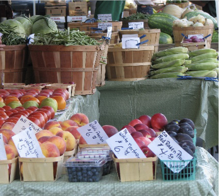 Products on display at a farmers market