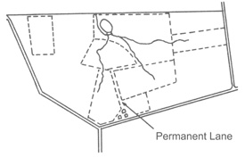 Figure 3. Locate permanent lanes to avoid erosion yet allow access to as many fields as possible.