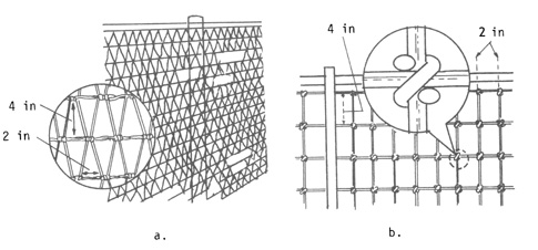 Figure 8. a) Detail of diamond-mesh fence; b)Stiff-stay, square-knot fence design.